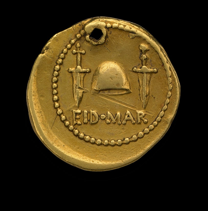Ides of March coin, 43-42 BC, commemorating the assassination of Julius Caesar