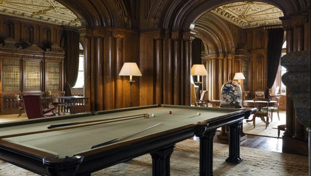 The billiard table in the Library