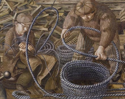 Sir Stanley Spencer, 'Riggers' from Shipbuilding on the Clyde (detail), 1944