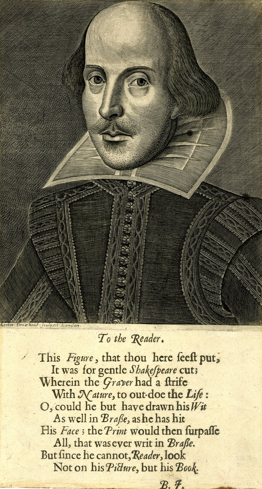 Martin Droeshout, Engraved portrait of Shakespeare, with verse by Ben Johnson below, 1623
