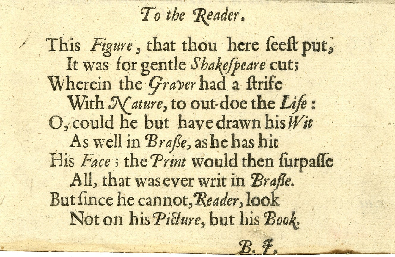 text by Ben Johnson, appended to Martin Droeshout's engraving