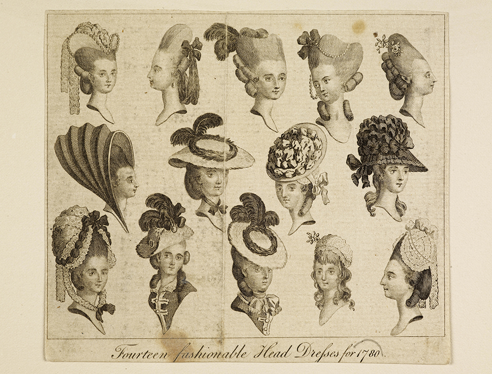 Fourteen fashionable Head Dresses for 1780 © Museum of London