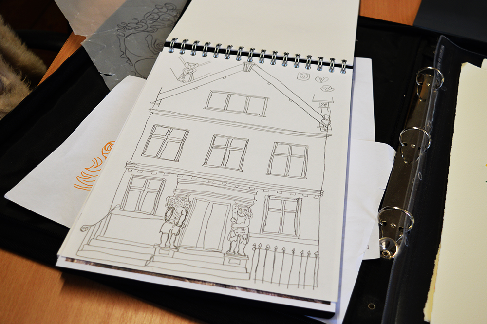 Sketch for limited edition print of Samson and Hercules House - © Leanda Jaine Illustrations