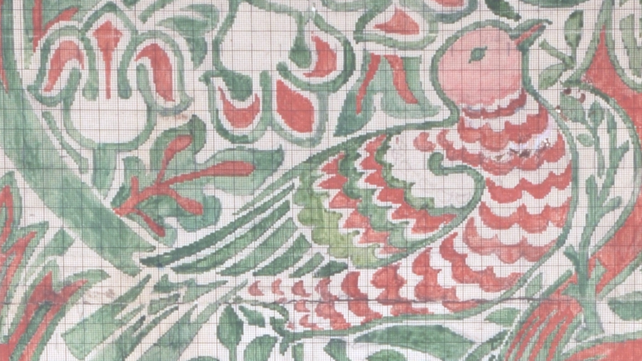 William Morris Point-paper design for Dove and, Rose silk and wool double cloth, 1879