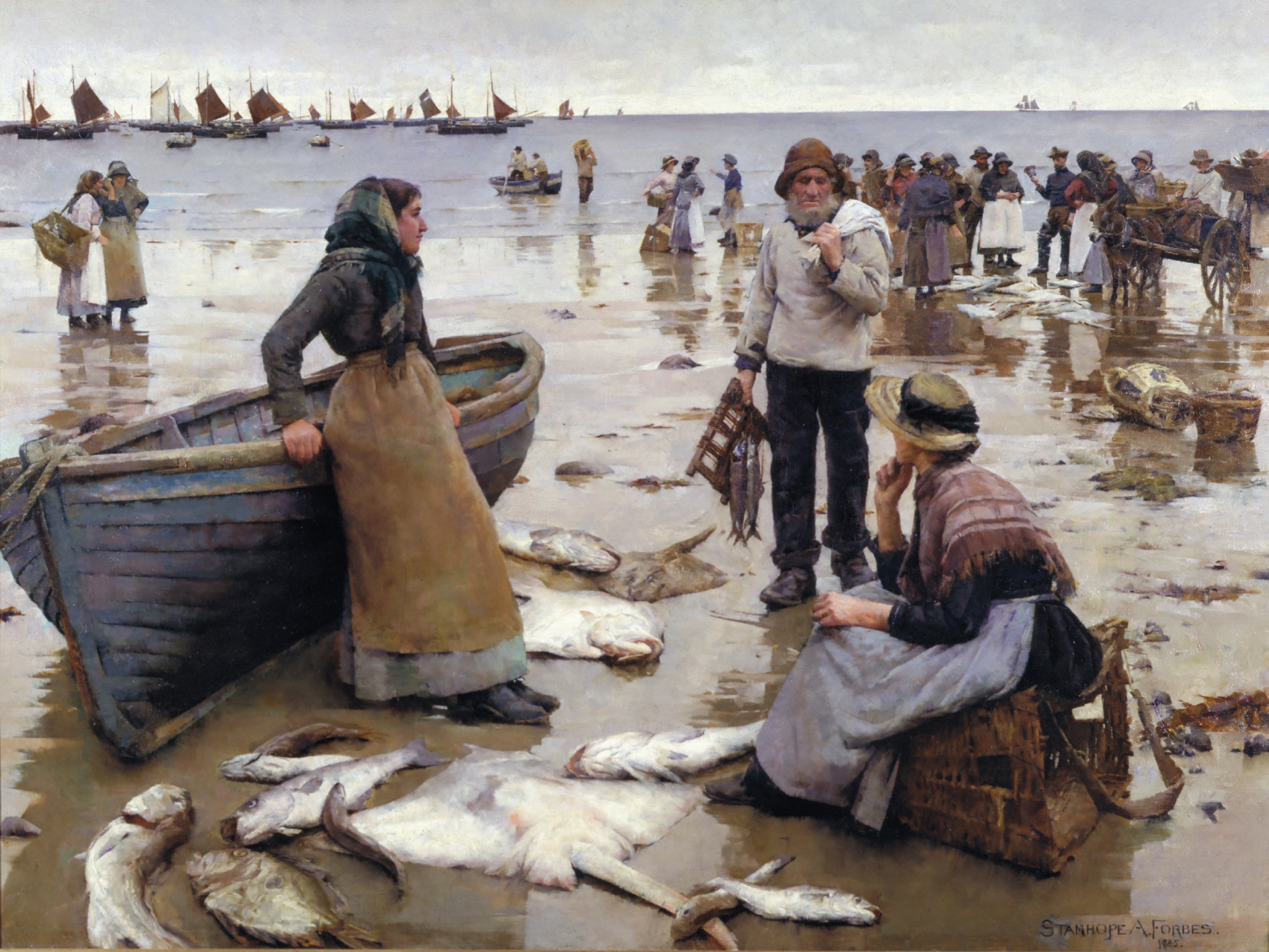5. Stanhope Alexander Forbes, A Fish Sale on a Cornish Beach, 1885, Plymouth City Museum and Art Gallery - © The Estate of Stanhope Alexander Forbes. All Rights Reserved, Bridgeman Images 2014. Image courtesy of Plymouth City Council (Arts and Heritage)