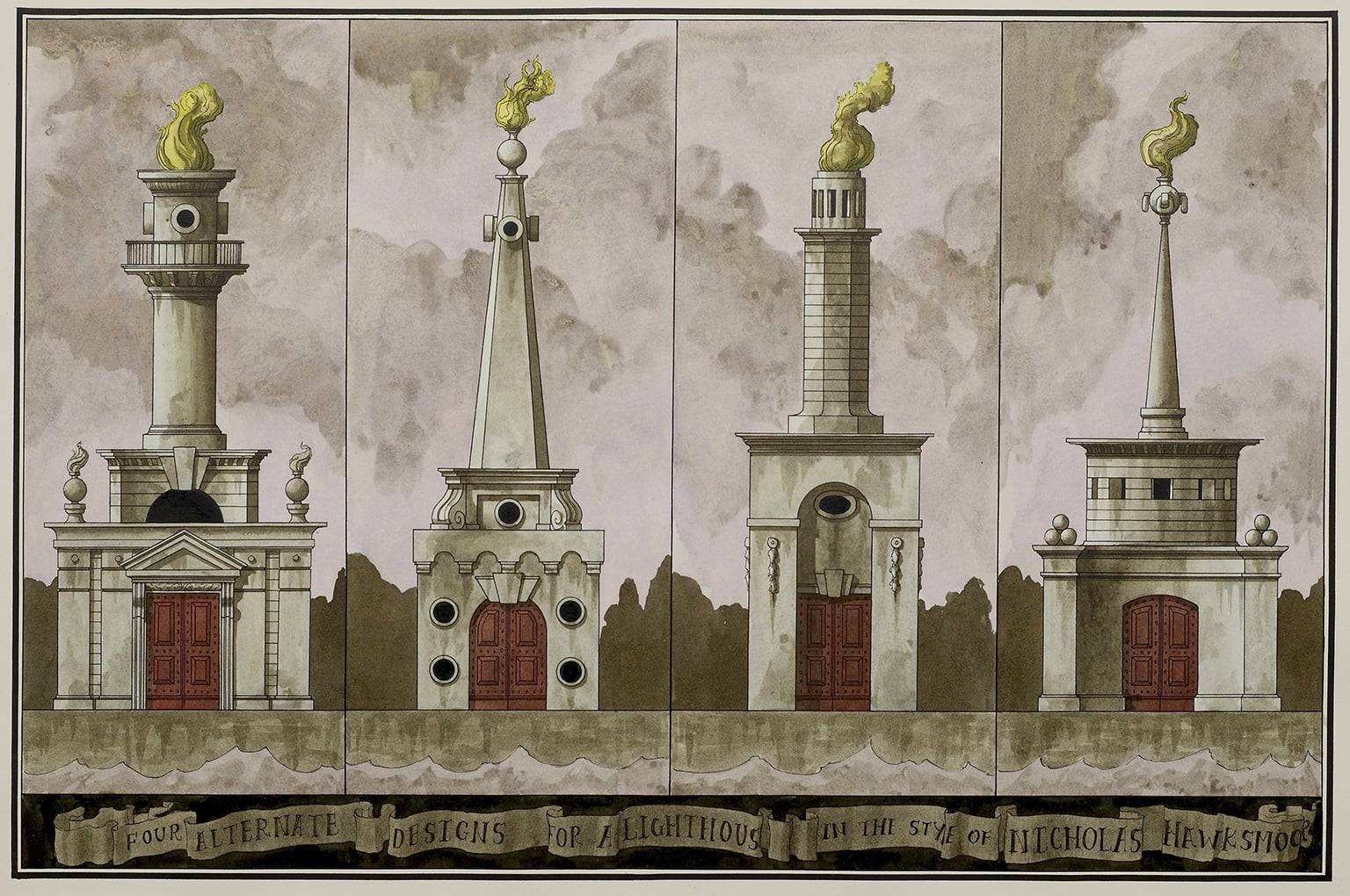 Pablo Bronstein, Four Alternate Designs for a Lighthouse in the Style of Nicholas Hawksmoor, 2014 - courtesy Herald Street Gallery