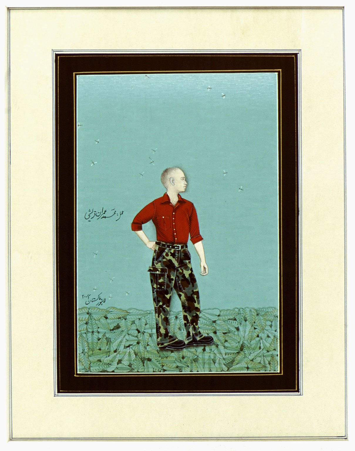 Imran Qureshi, Standing figure with camouflage pantaloons, 2004 - © The artist