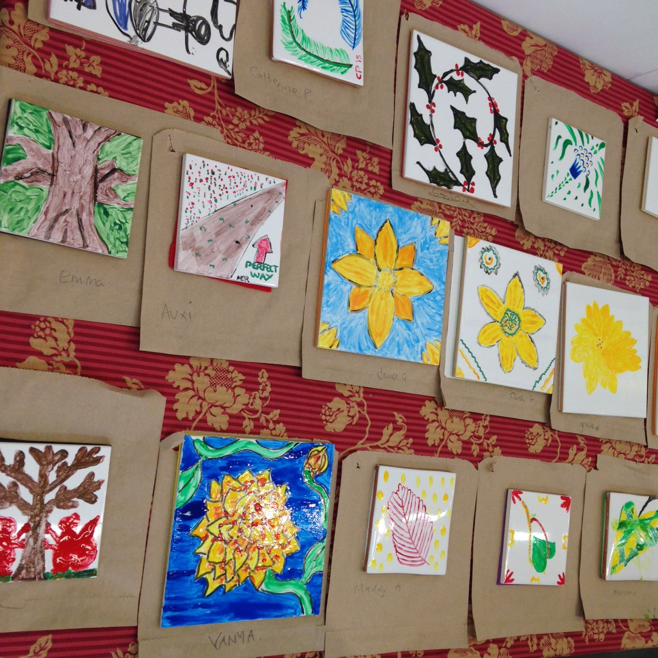 Morris-inspired tiles painted by Art Miles participants at William Morris Gallery -