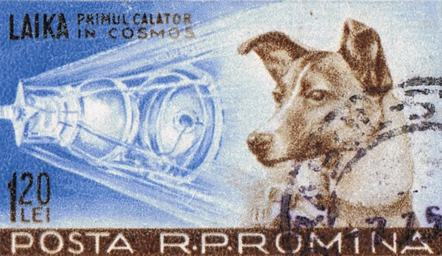 Laika - The first dog to orbit the Earth depicted on a Romanian stamp
