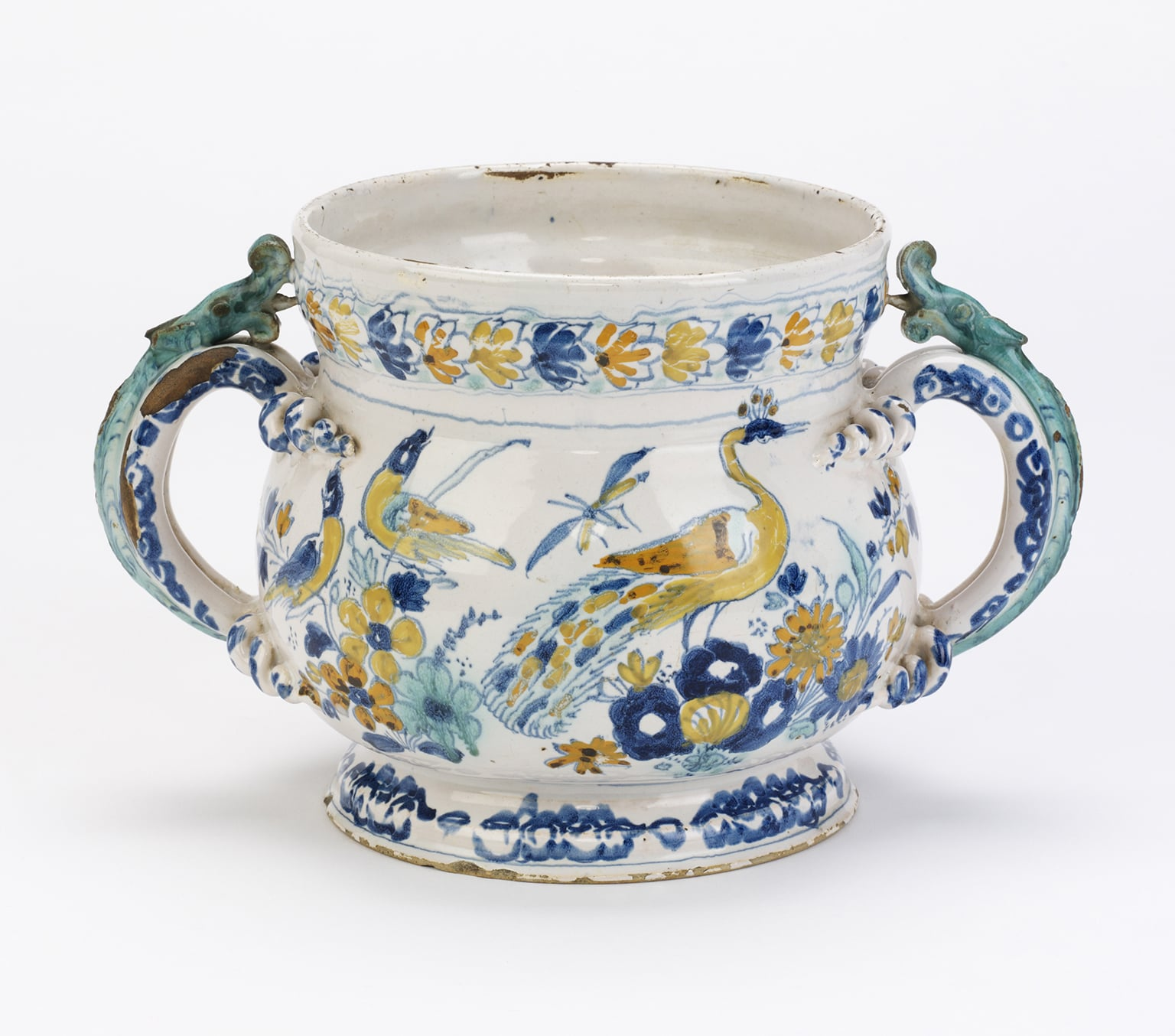 English delftware polychrome posset pot by Unknown, 1695 - © Geffrye, Museum of the Home