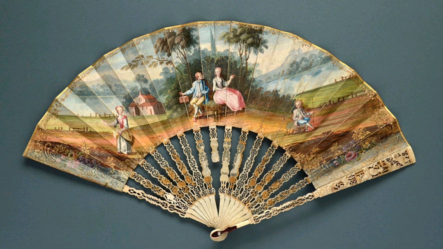 3. Fan Museum, London. Free entry with National Art Pass - Folding fan painted with a fete champetre, 18th century, Fan Museum