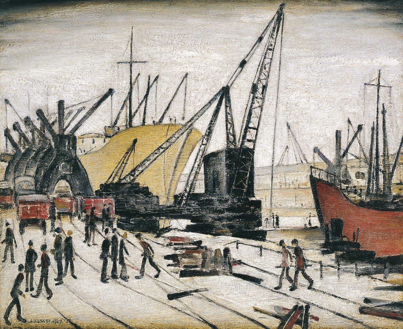 4. Cranes and Ships, Glasgow Docks, 1947. Riverside Museum, Glasgow - © the estate of L. S. Lowry