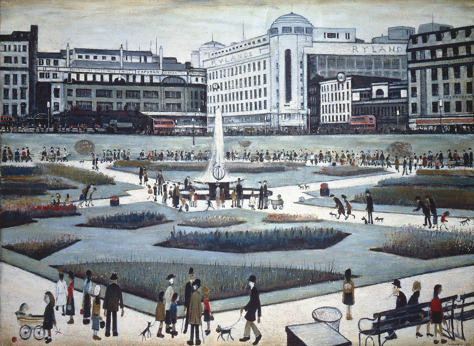 3. Piccadilly Gardens, 1954. Manchester Art Gallery - © the estate of L. S. Lowry. Image courtesy of Manchester Art Gallery