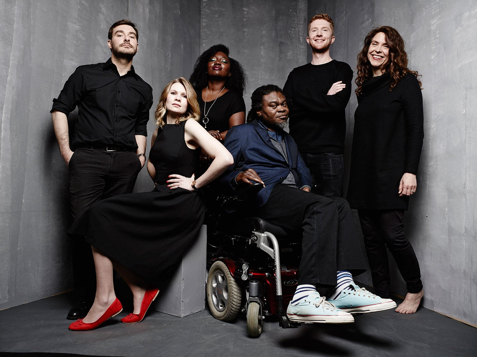 Victoria and Albert Museum staff with artist Yinka Shonibare (third from right)
