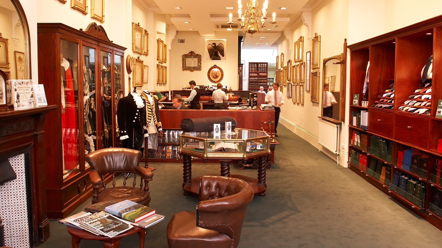 Inside the showroom at Henry Poole
