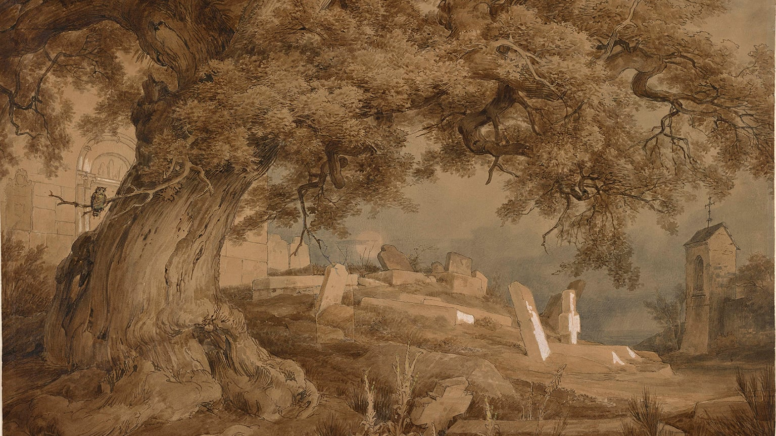 Karl Friedrich Lessing, Landscape with a cemetery and a church, 1837