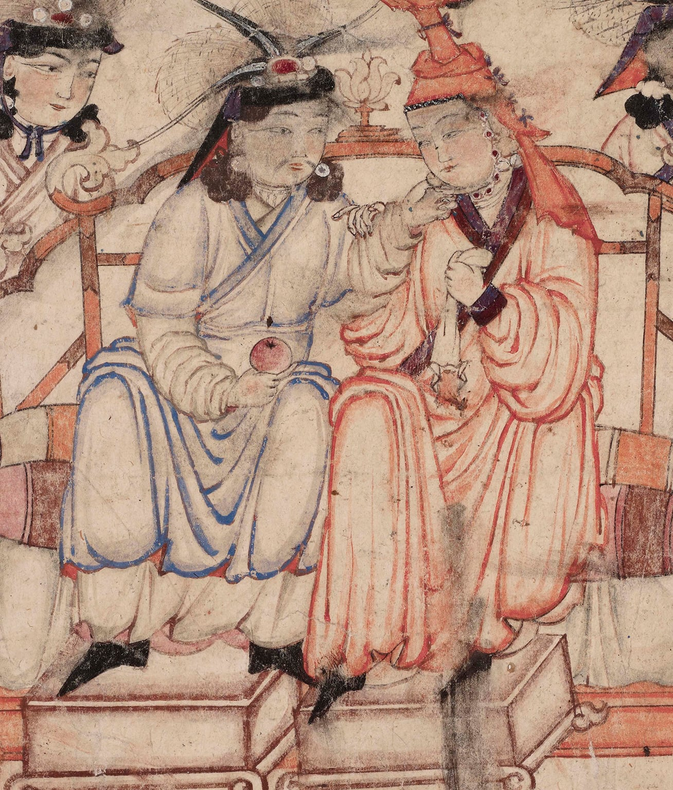 Enthronement scene (detail), from the Diez Albums Iran, possibly Tabriz, early 14th century