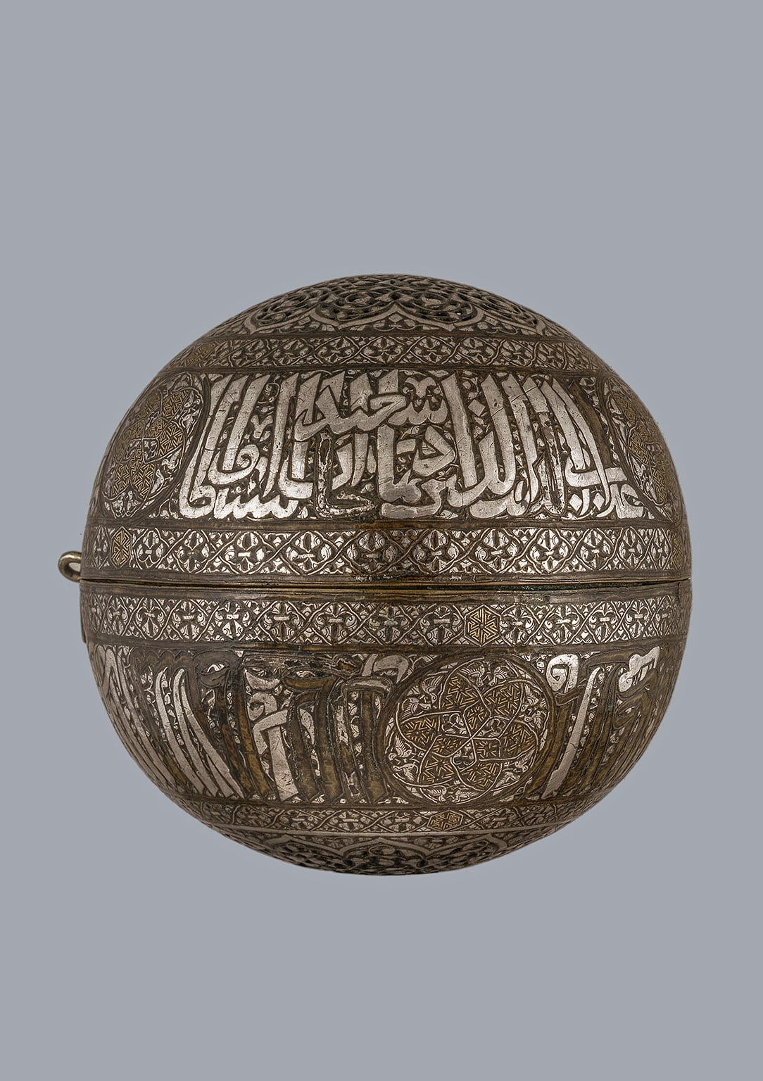 Spherical incense burner, probably Mosul, 1319-1335. With an inscription to the Il-Khanid Sultan Abu Sacid
