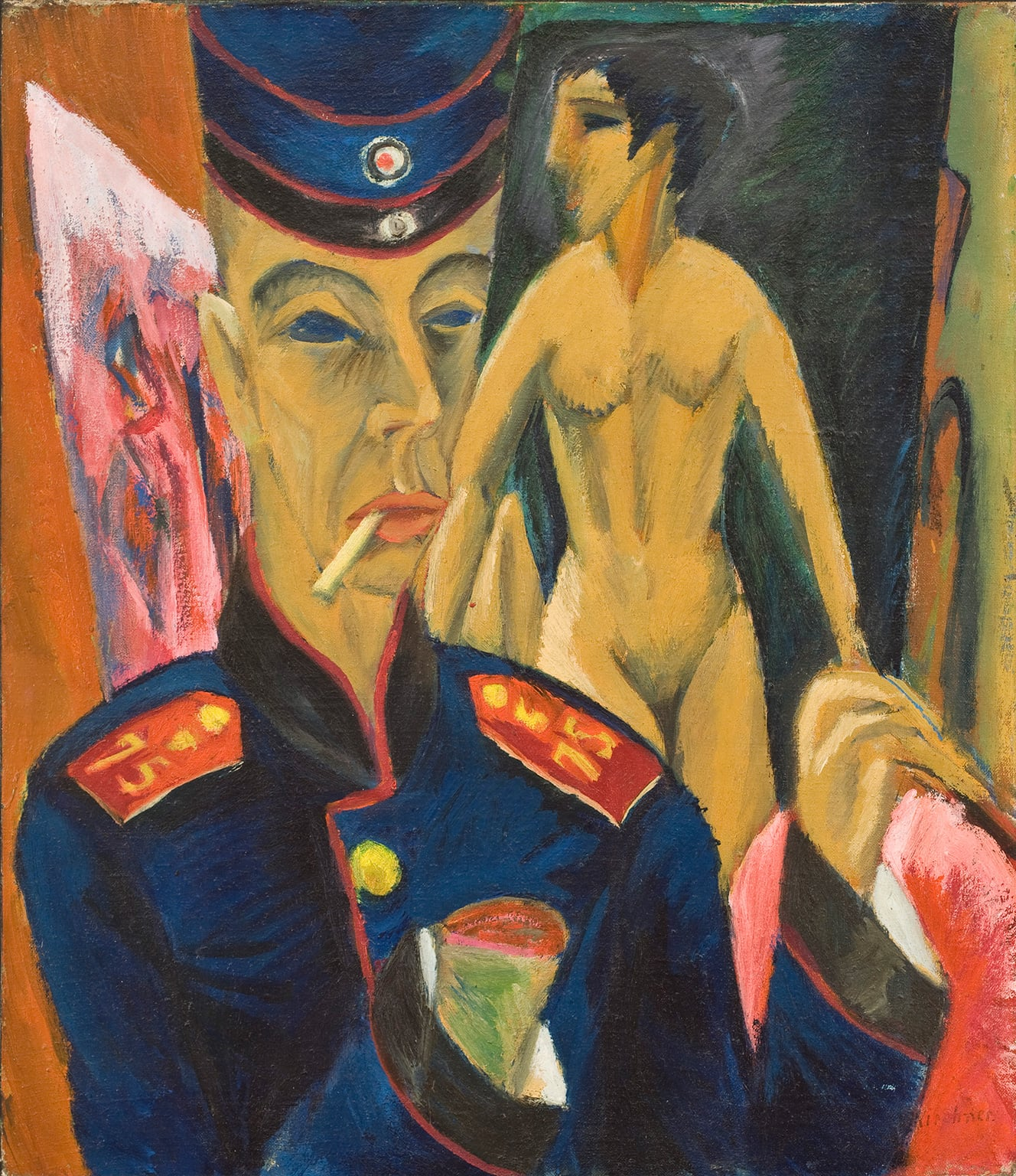 The Great war in Portraits, National Portrait Gallery, free to all - Ludwig Kirchner, Selbstbildnis als Soldat (Self-portrait as a Soldier), 1915, Copyright: Allen Memorial Art Museum, Oberlin College, Ohio