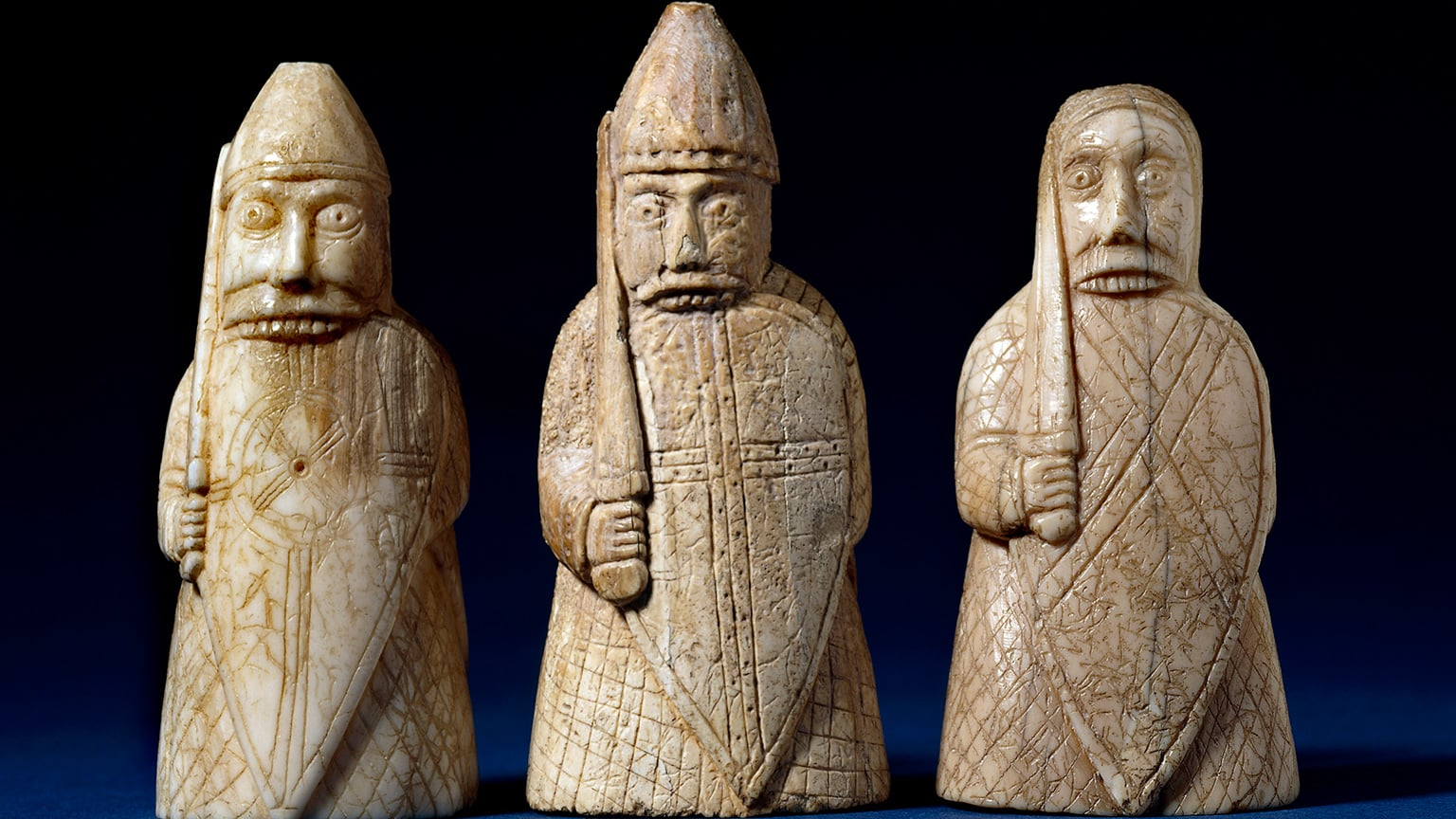 1. Vikings at the British Museum. 50% off with National Art Pass - The Lewis Chessmen, berserkers. Late 12th century, Uig, Lewis, Scotland. Copyright of The Trustees of the British Museum.