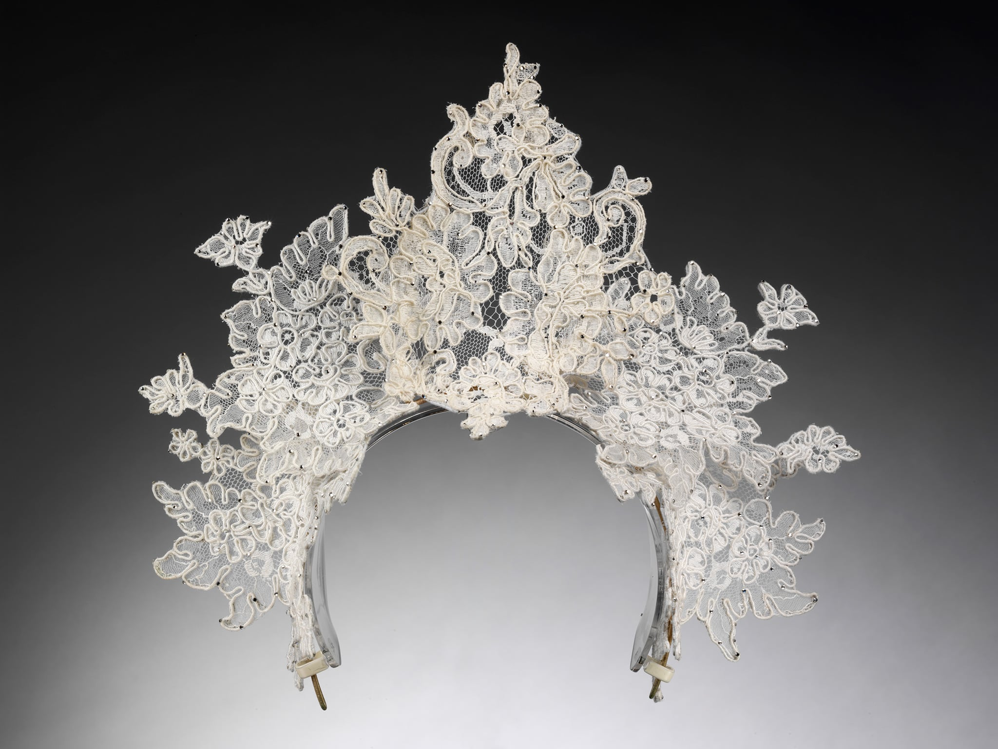 Antique lace tiara created by Philip Treacy, London. Designed for Nina Farnell-Watson for her wedding to Edward Tryon, 2008