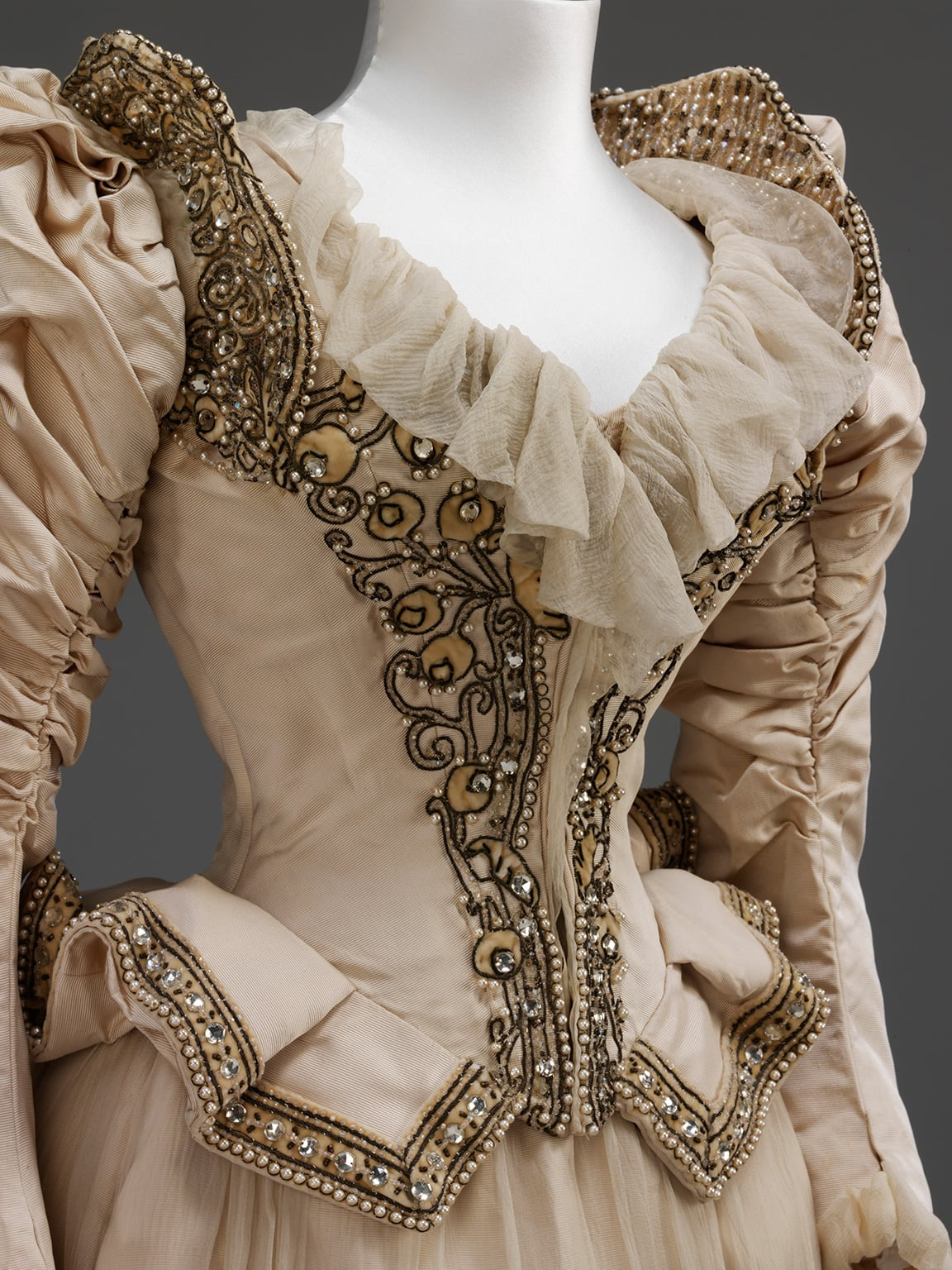 Embroidered corded silk wedding dress made after a Paquin, Lalanne et Cie Paris model by Stern Brothers, New York. Worn by Cara Leland Huttleston Rogers for her marriage in New York to Bradford Ferris Duff Given by Lord Fairhaven, 1890