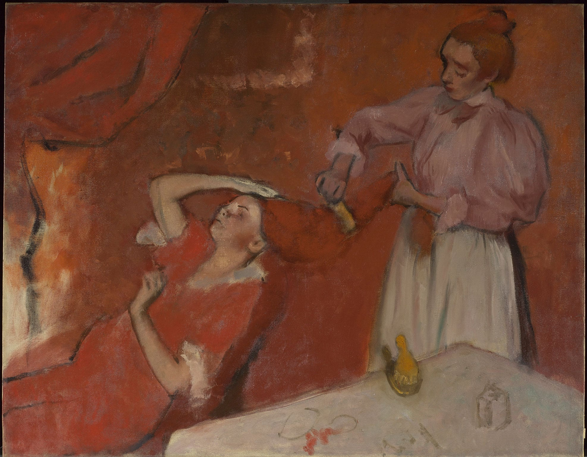 3. Making Colour, National Gallery, London, 18 June - 17 September. 50% off with National Art Pass - Hilaire-Germain-Edgar Degas, Combing the Hair ('La Coiffure'), about 1896 © The National Gallery, London
