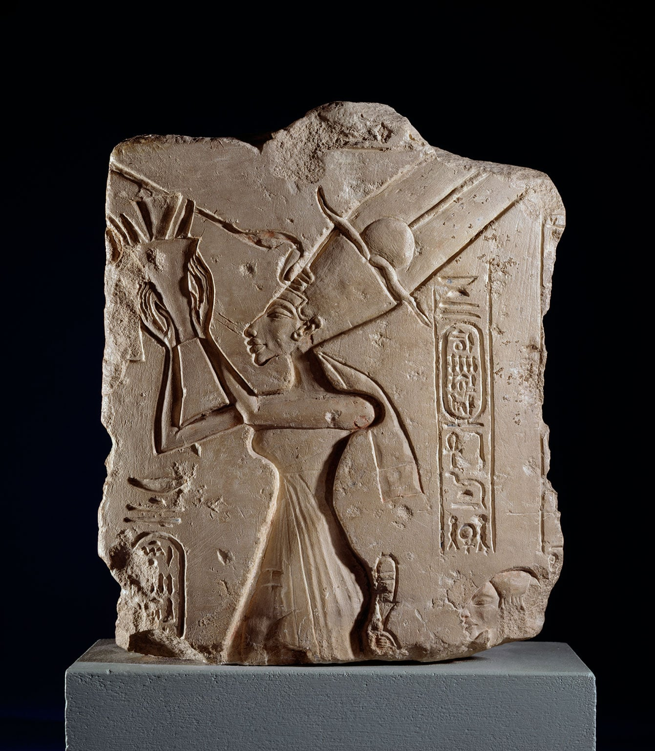 Queen Nefertiti offering a bouquet to Aten, From Tell el-Amarna, possibly the Great Palace, 18th Dynasty, c.1345 BC