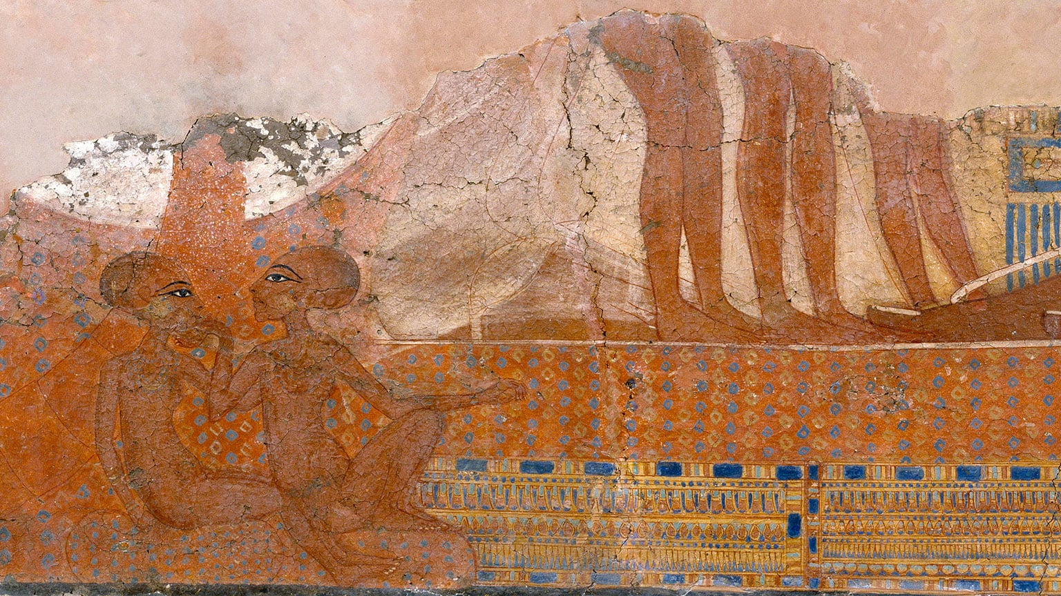 The Daughters of Akhenaten and Nefertiti, a wall-painting from the 'King's House' at Tell el-Amarna, c.1345–1335 BC
