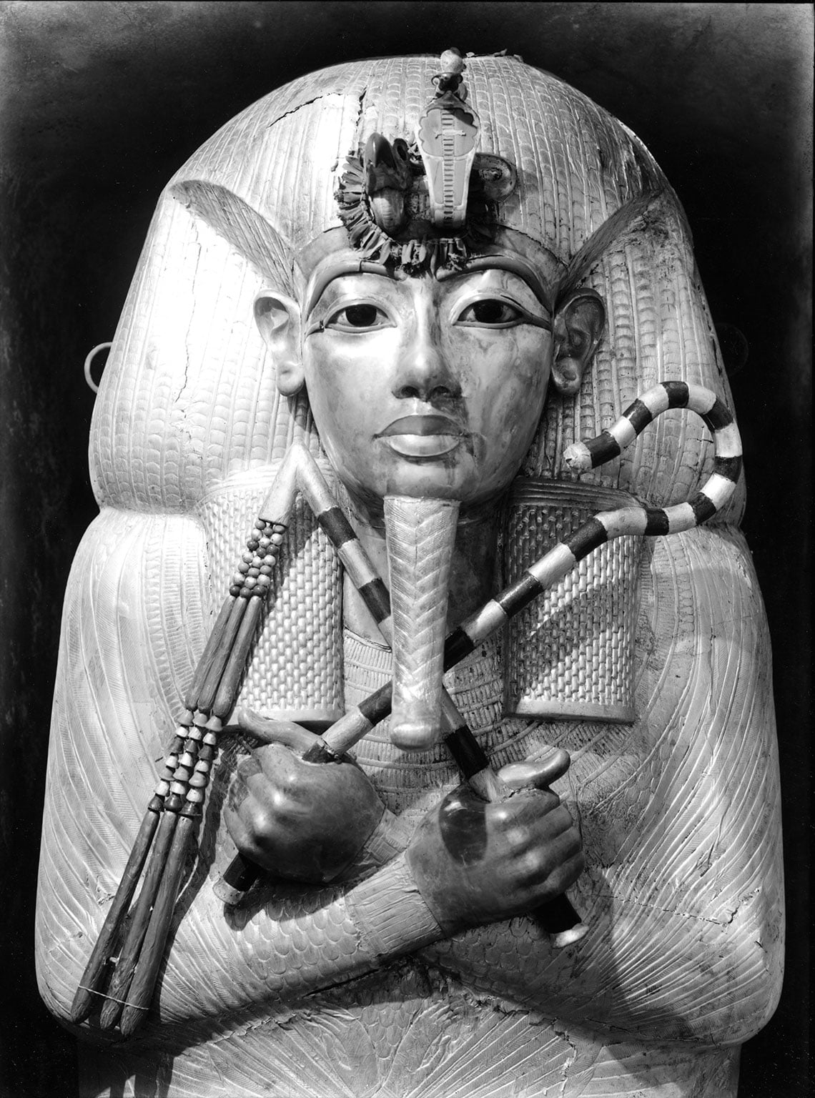 The (first) outermost gilded wooden coffin of Tutankhamun, Photo by Harry Burton