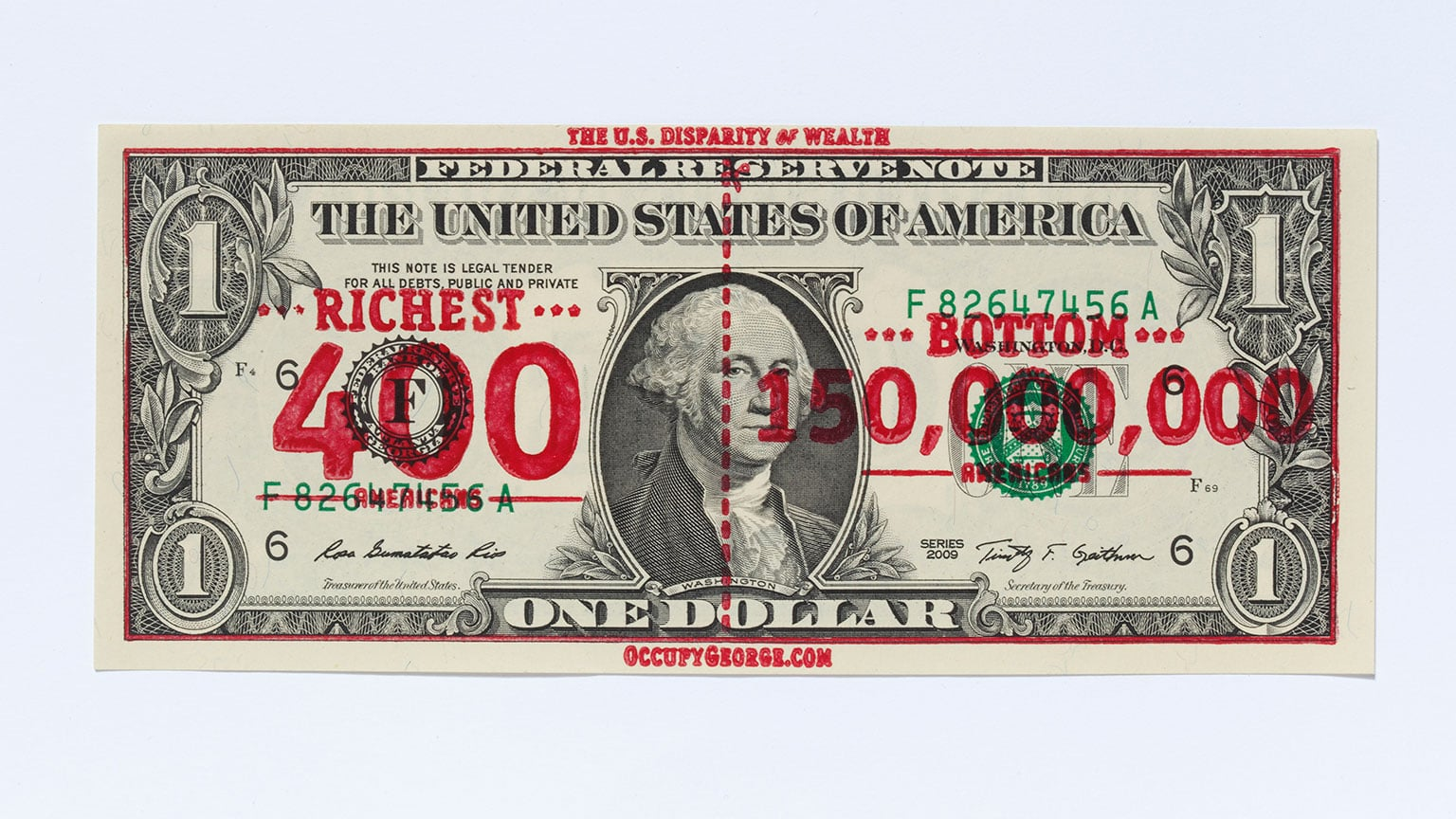 Andy Dao and Ivan Cash, Occupy George overprinted dollar bill, 2011 - Courtesy of Andy Dao and Ivan Cash