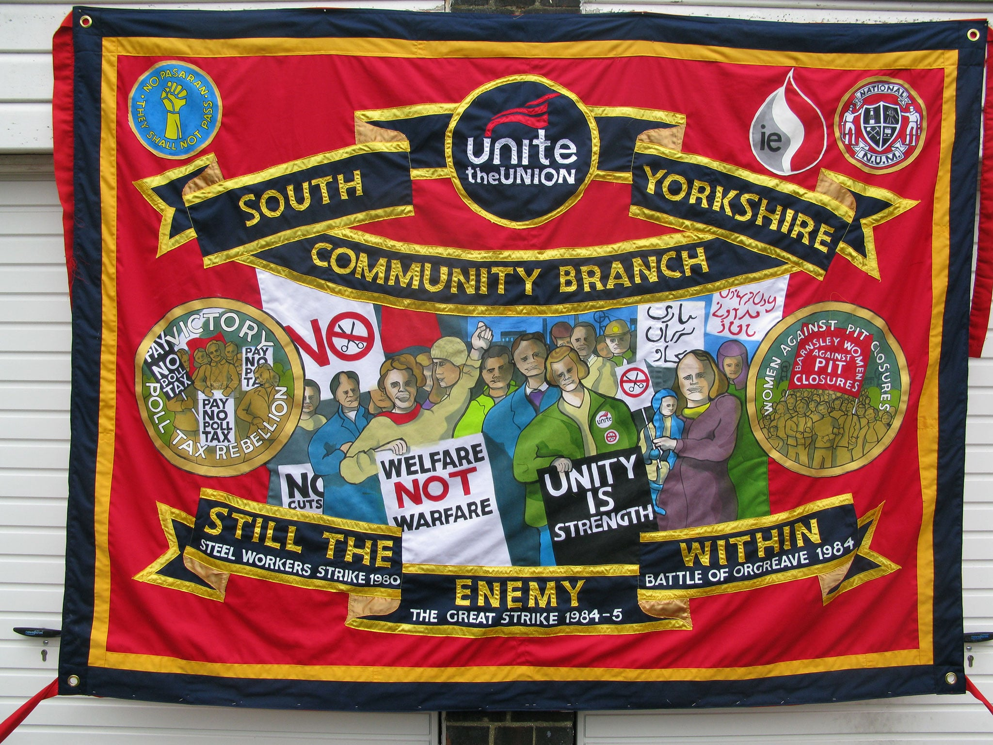 Ed Hall, Banner for UNITE the union at the march in support of the NHS in Manchester, September 2013 - Courtesy of Ed Hall
