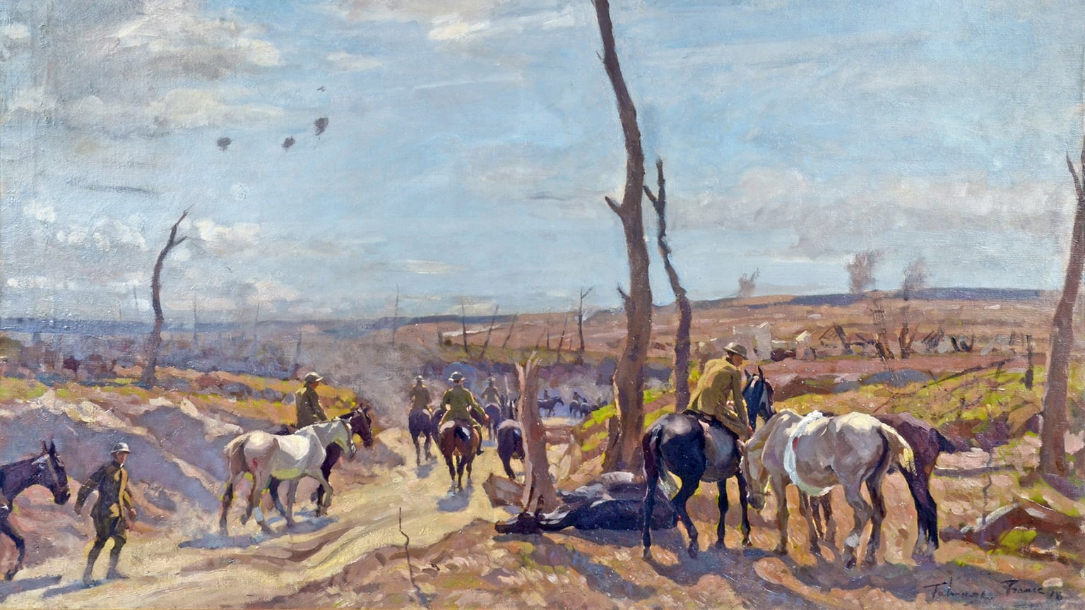 Home Lad Home: The War Horse Story, St Barbe Museum and Art Gallery, free with National Art Pass - Algernon Talmage, Wounded Horses Returning from the Front. Courtesy Chris Beetles Gallery