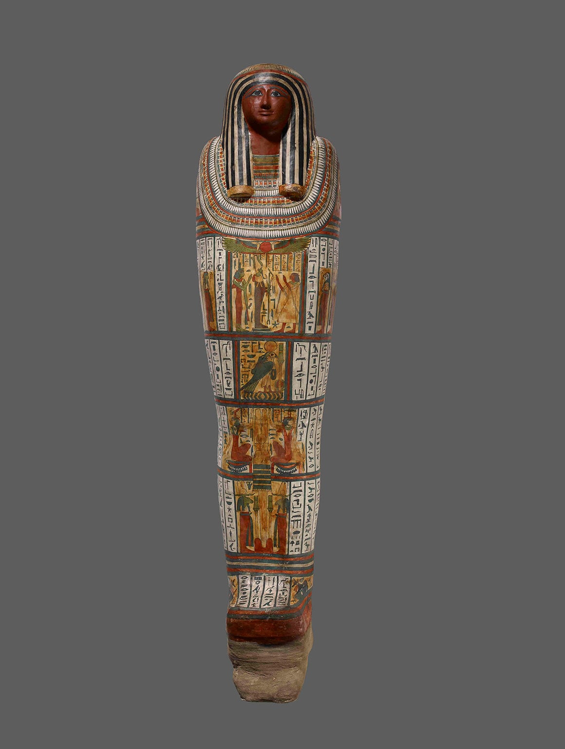 Mummy of a man, aged 30-40, in a painted cartonnage mummy-case bearing the name Pediamun. 700BC (circa) 25th Dynasty