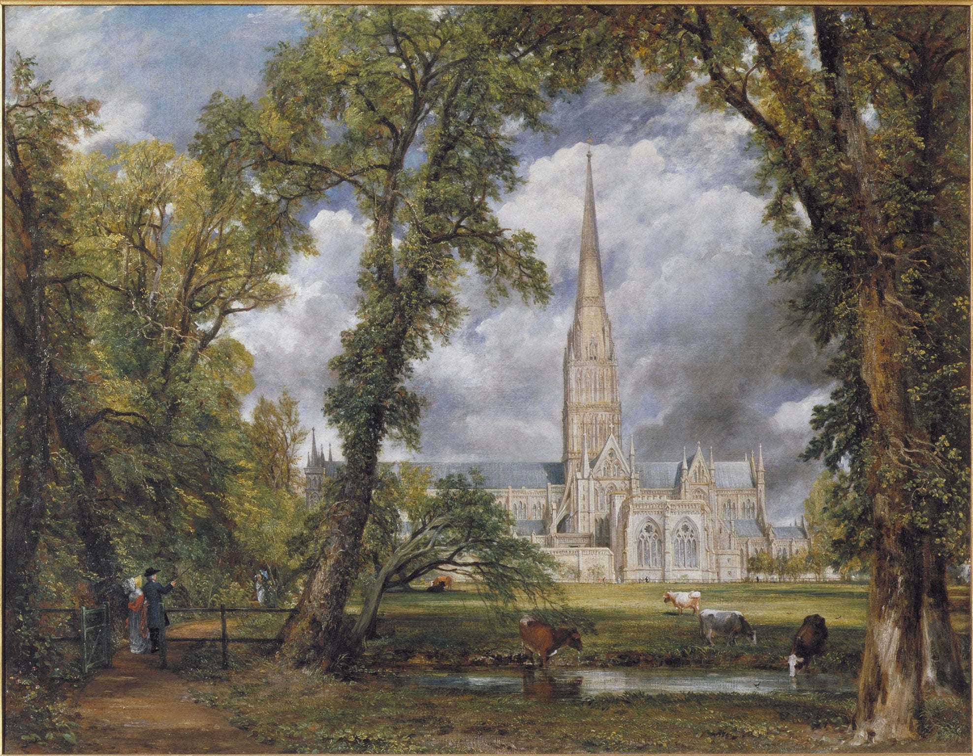 John Constable, Salisbury Cathedral from the Bishops Ground, 1823c