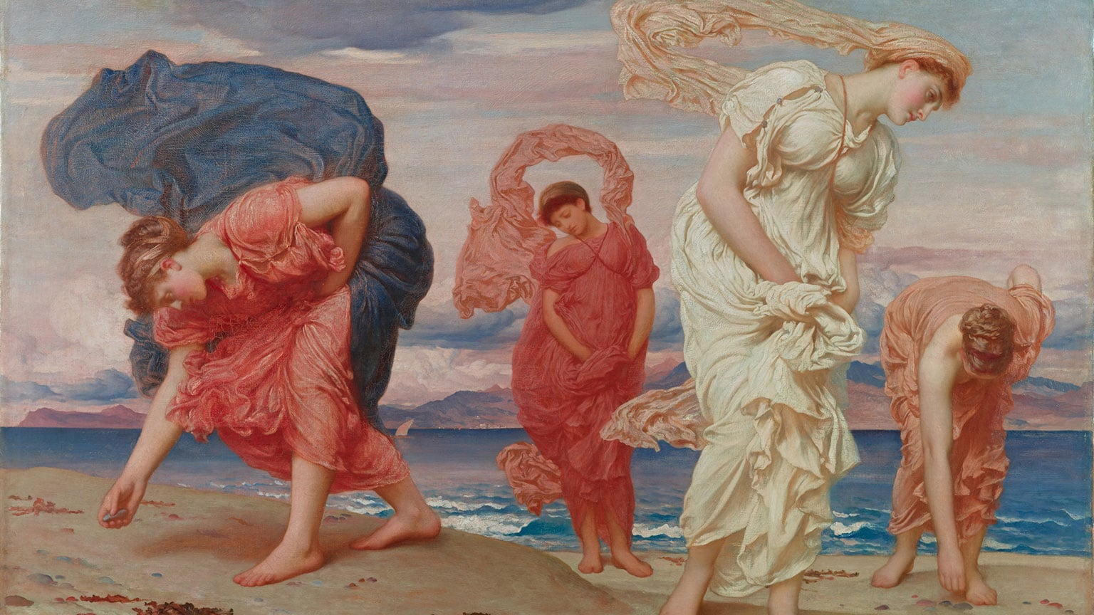 Frederic, Lord Leighton Greek girls picking up pebbles by the sea, 1871
