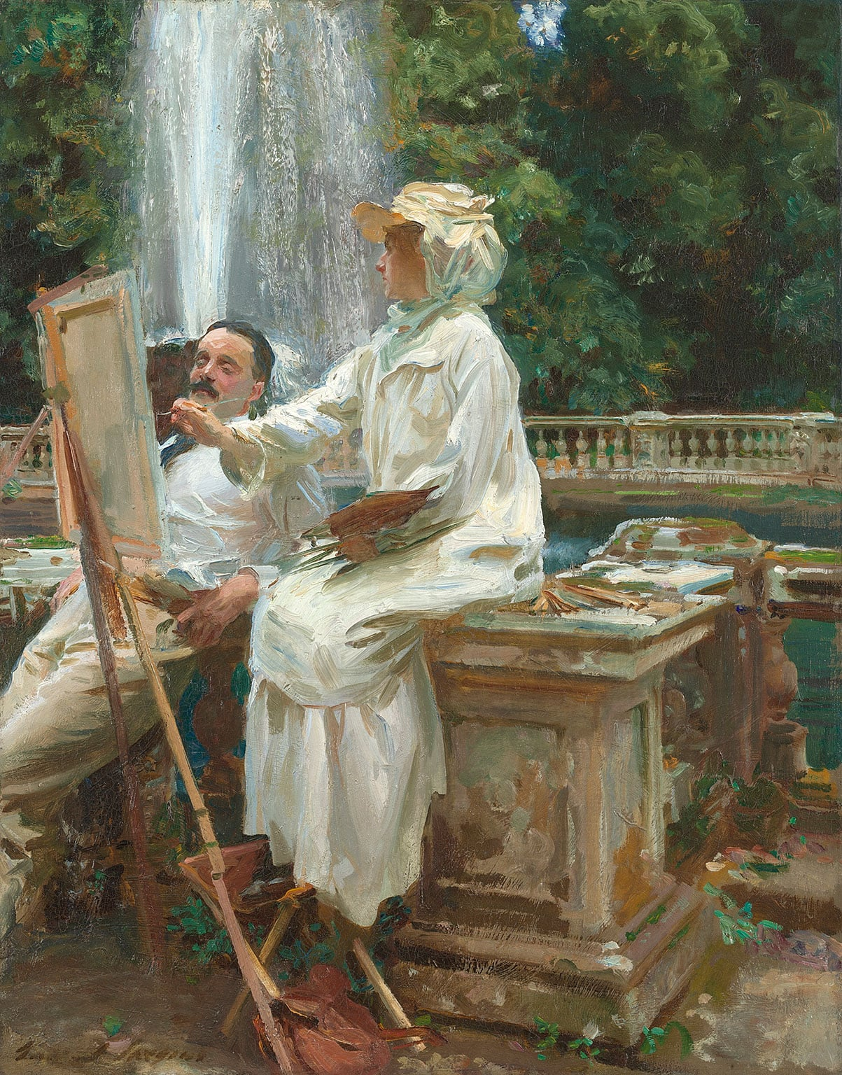 1. Sargent: Portraits of Artists and Friends, National Portrait Gallery, 50% off with National Art Pass - John Singer Sargent, The Fountain, Villa Torlonia, Frascati, Italy, 1907