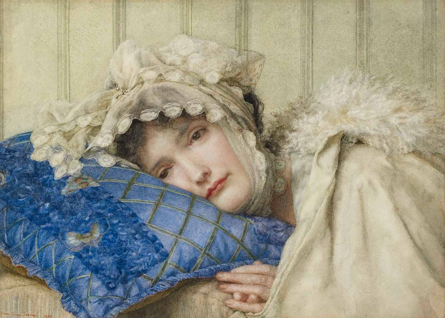 Anna Alma-Tadema, Girl in a Bonnet with her Head on a Blue Pillow, 1902