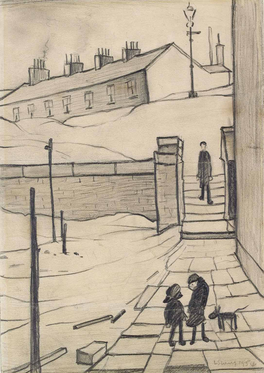 4. Great British Drawings, Ashmolean Museum, 50% off with National Art Pass - LS Lowry, Street in Ramsbottom, 1954. © The Estate of L.S. Lowry All rights reserved, DACS 2014