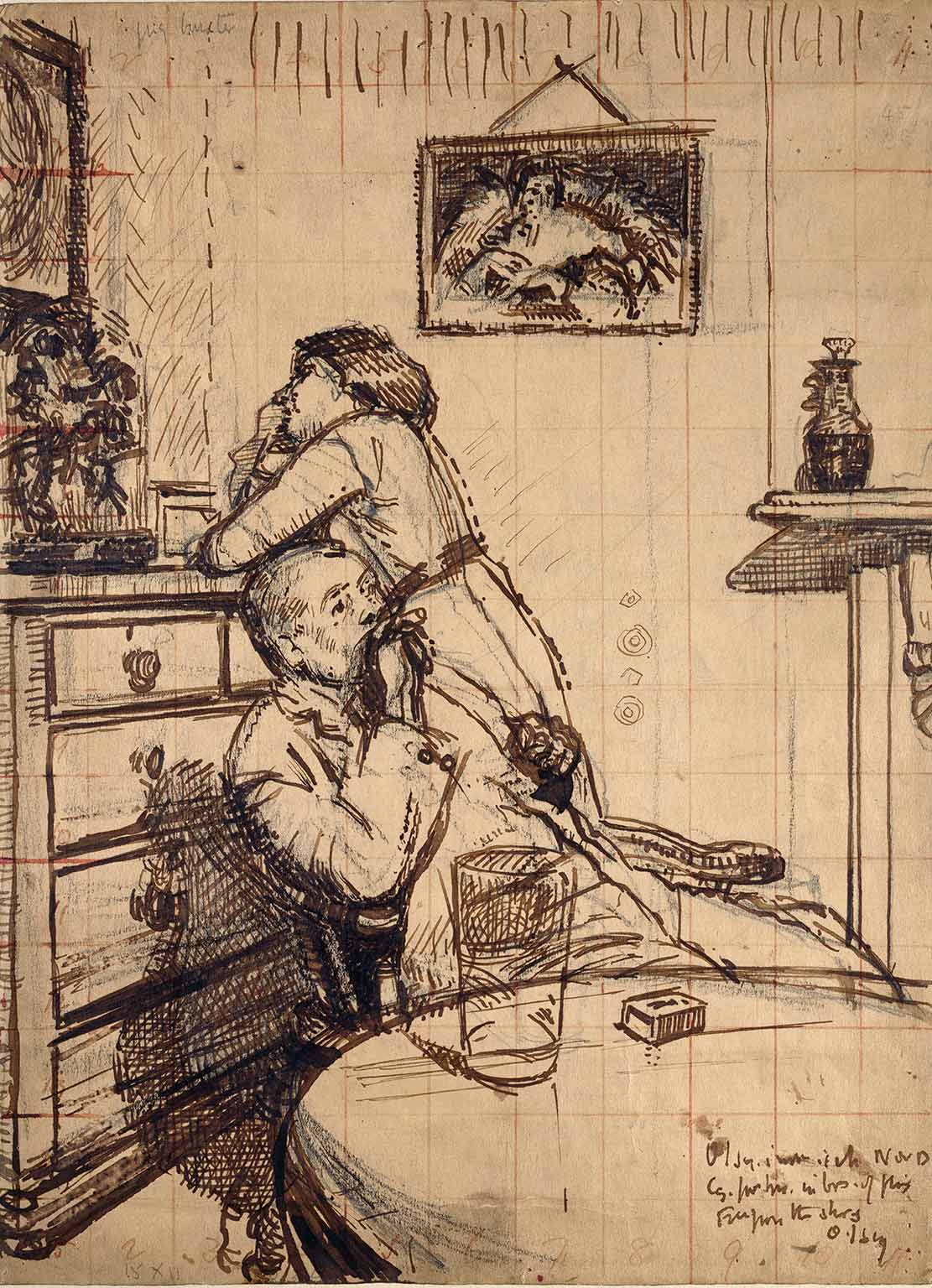 Walter Richard Sickert, Study for 'Ennui': Hubby and Marie, c.1913