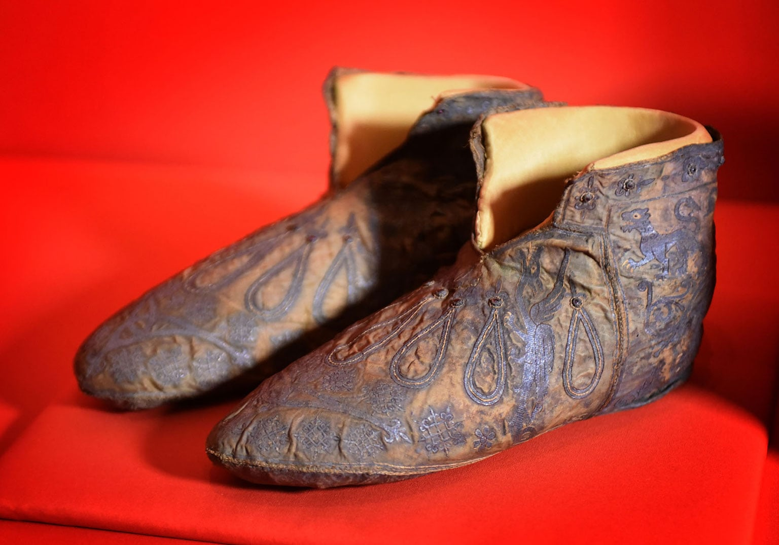 The slippers of Archbishop Walter on loan from Canterbury Cathedral