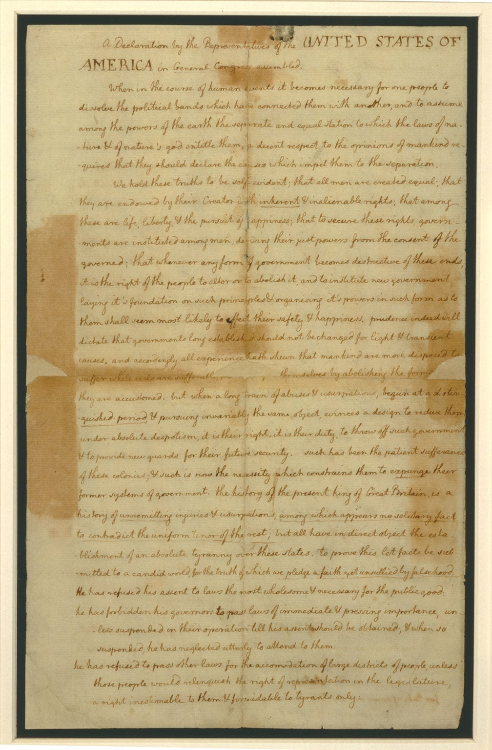 Page one of the Declaration of Independence