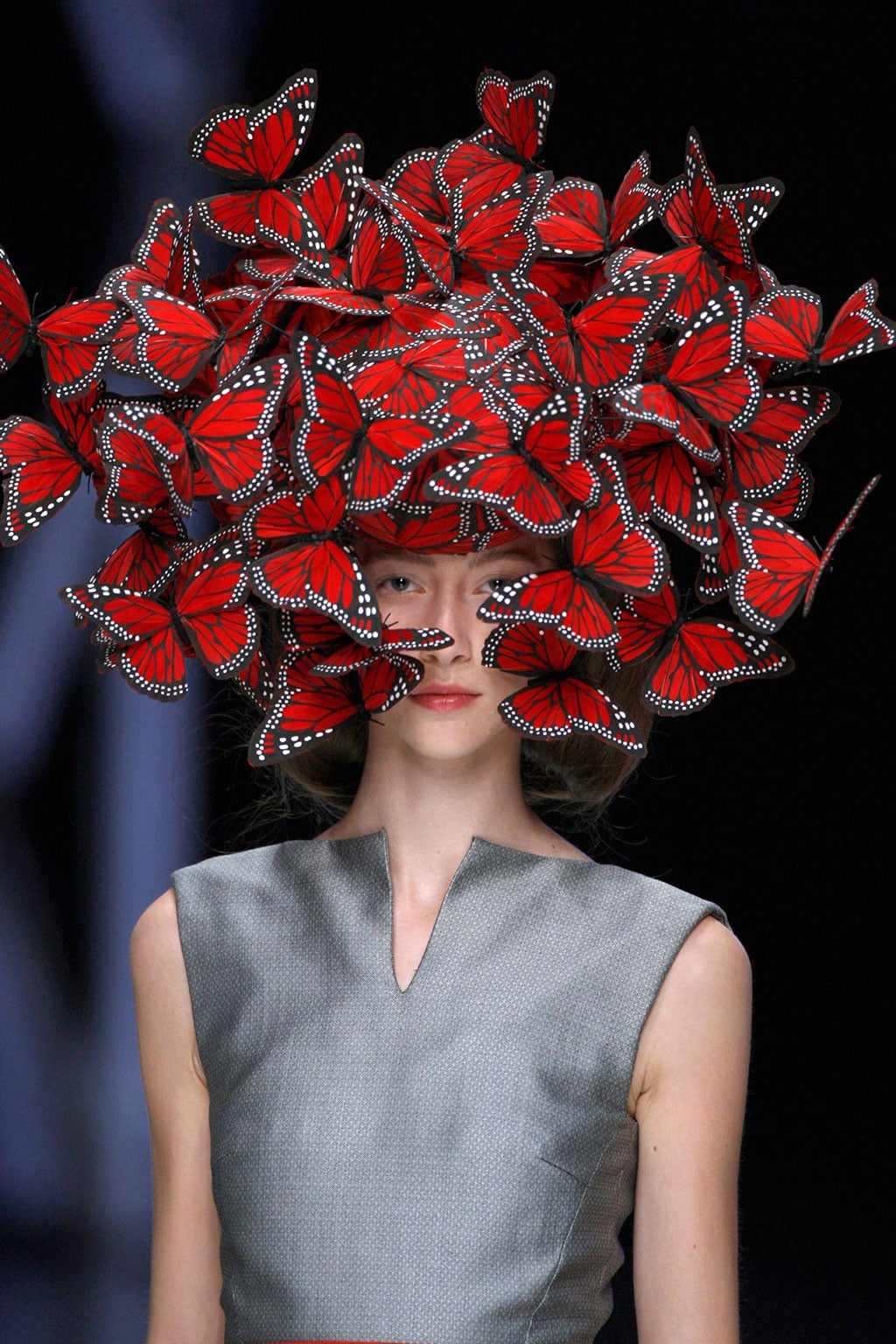 Philip Treacy for Alexander McQueen, Butterfly headdress of hand-painted turkey feathers La Dame Bleue,S/S 2008