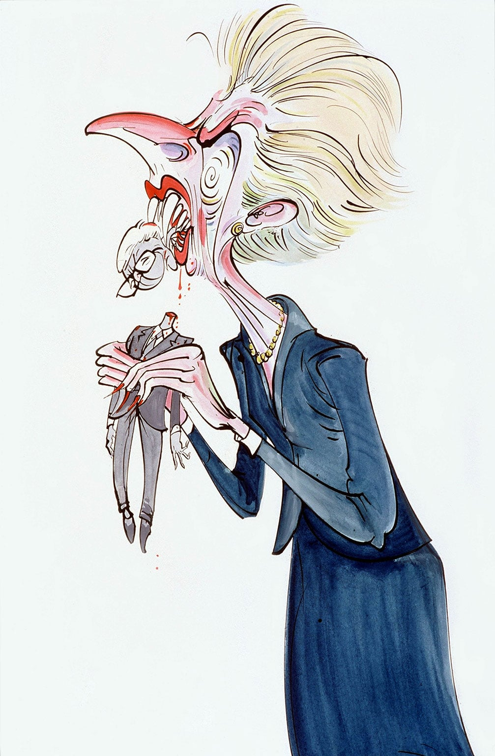 5. Milk Snatcher: The Margaret Thatcher Drawings, The Bowes Museum, free with National Art Pass - Gerald Scarfe, Thatcher eating Major © The artist