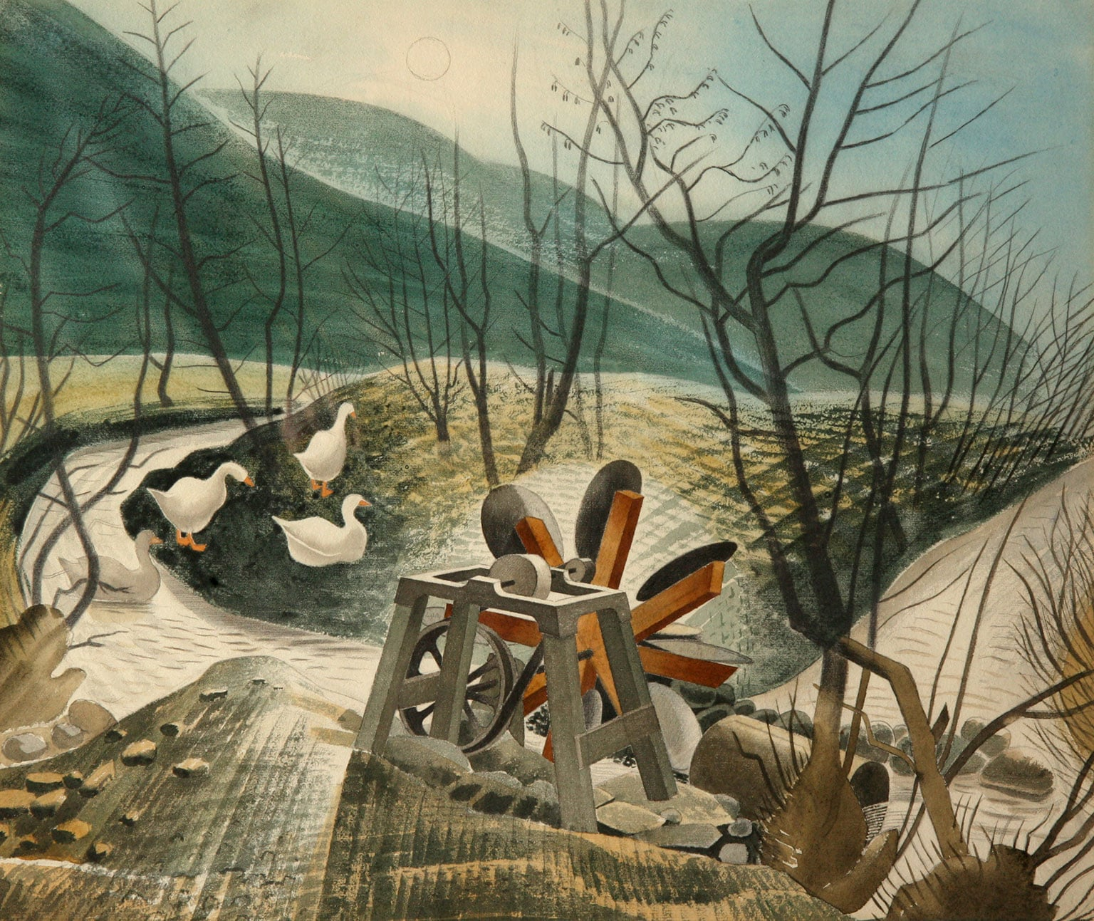 2. Ravilious, Dulwich Picture Gallery, 50% off with National Art Pass - Eric Ravilious, The Waterwheel, 1938, Brecknock Museum