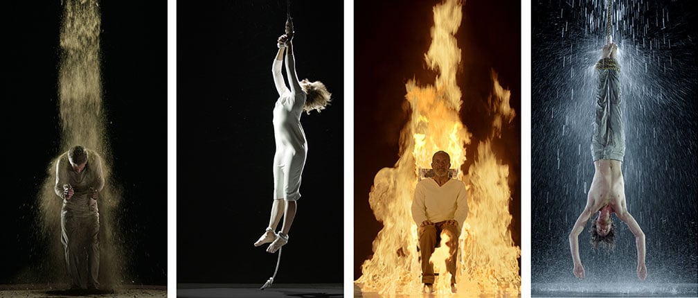 6. Bill Viola, Auckland Castle, 50% off with National Art Pass - Bill Viola, Earth Martyr, Air Martyr, Fire Martyr, and Water Martyr, 2014 © the artist