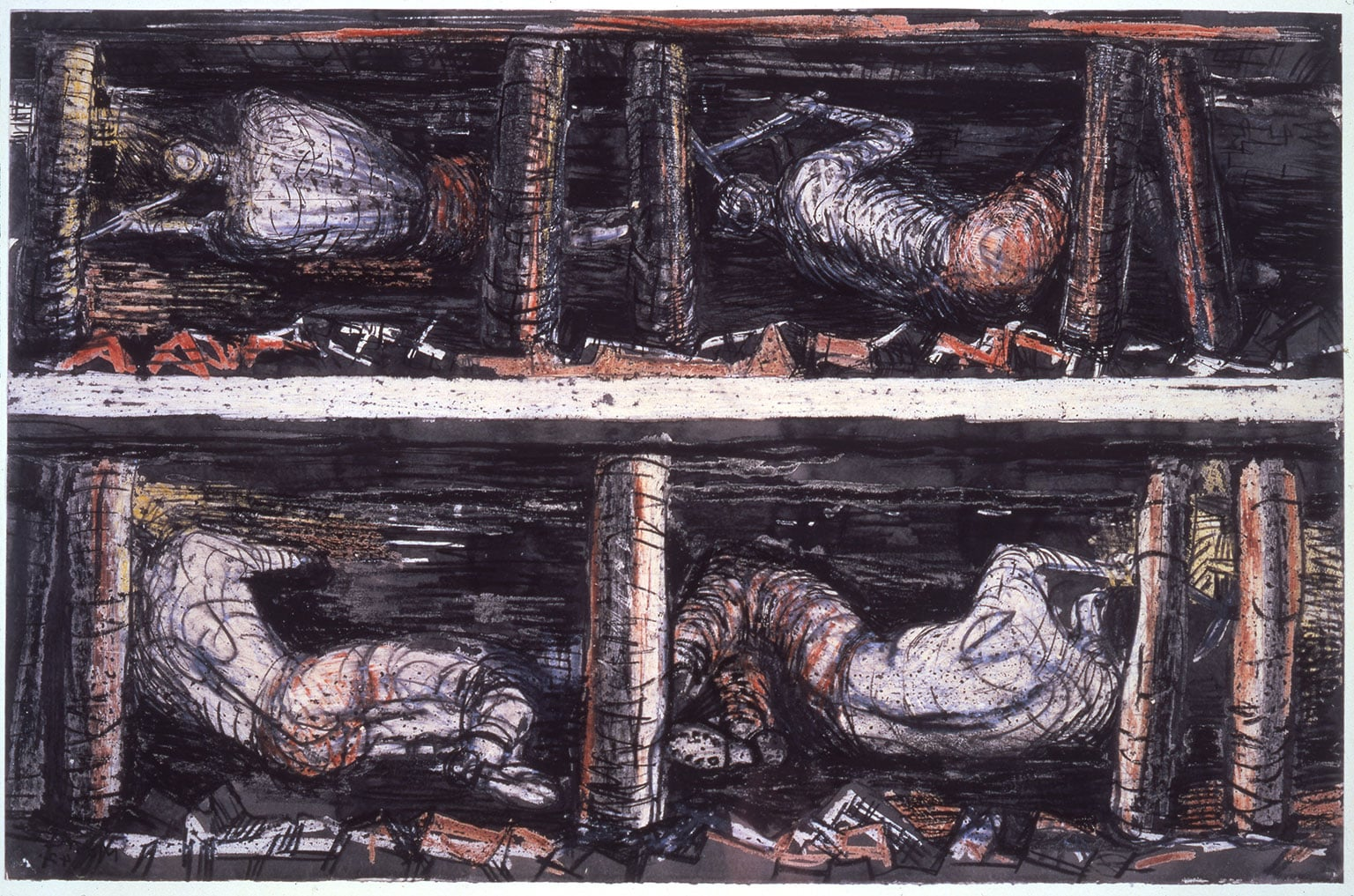 Henry Moore, Four Studies of Miners at the Coalface, 1942