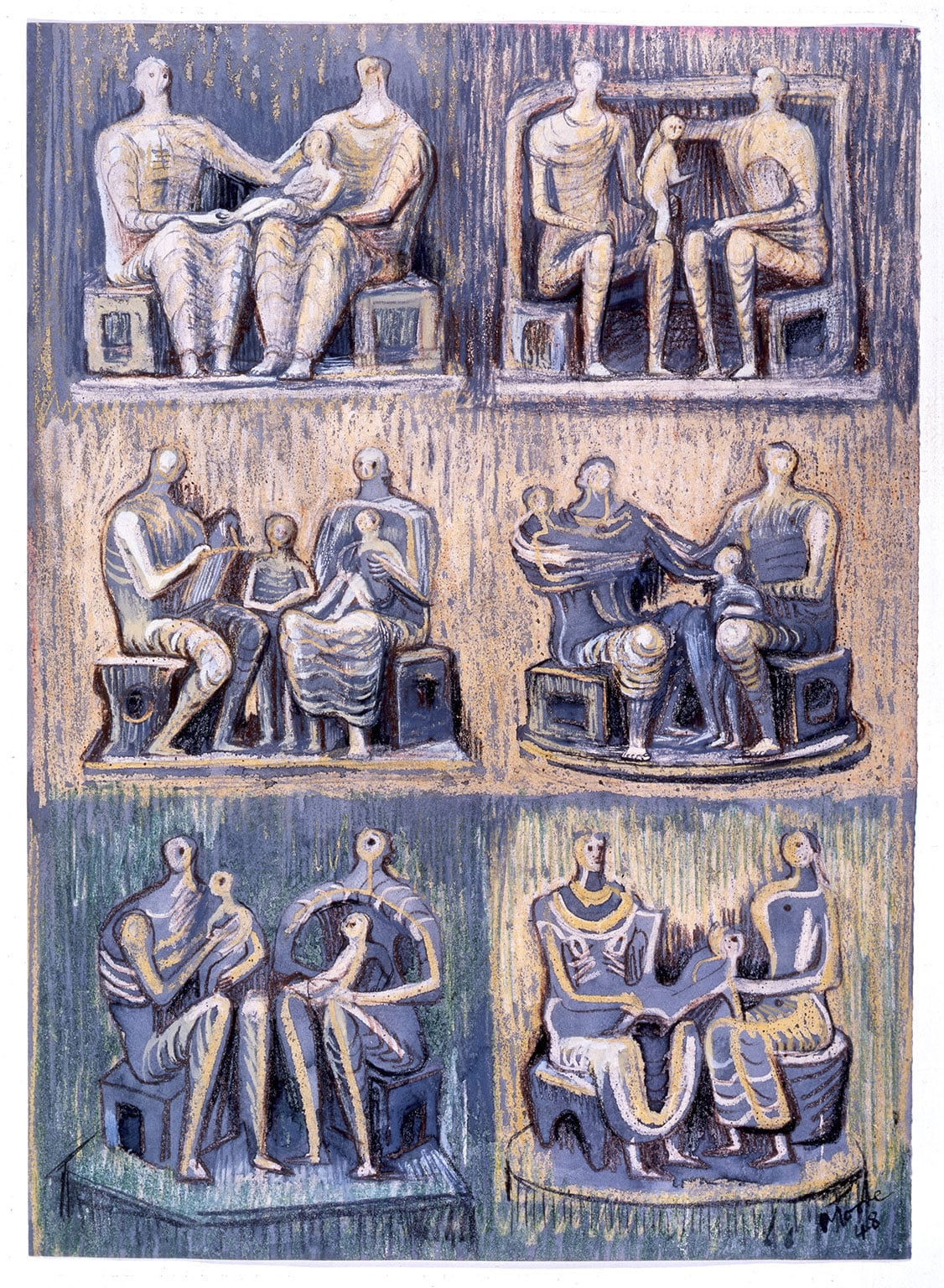 Henry Moore, Six Studies for Family Group, 1948