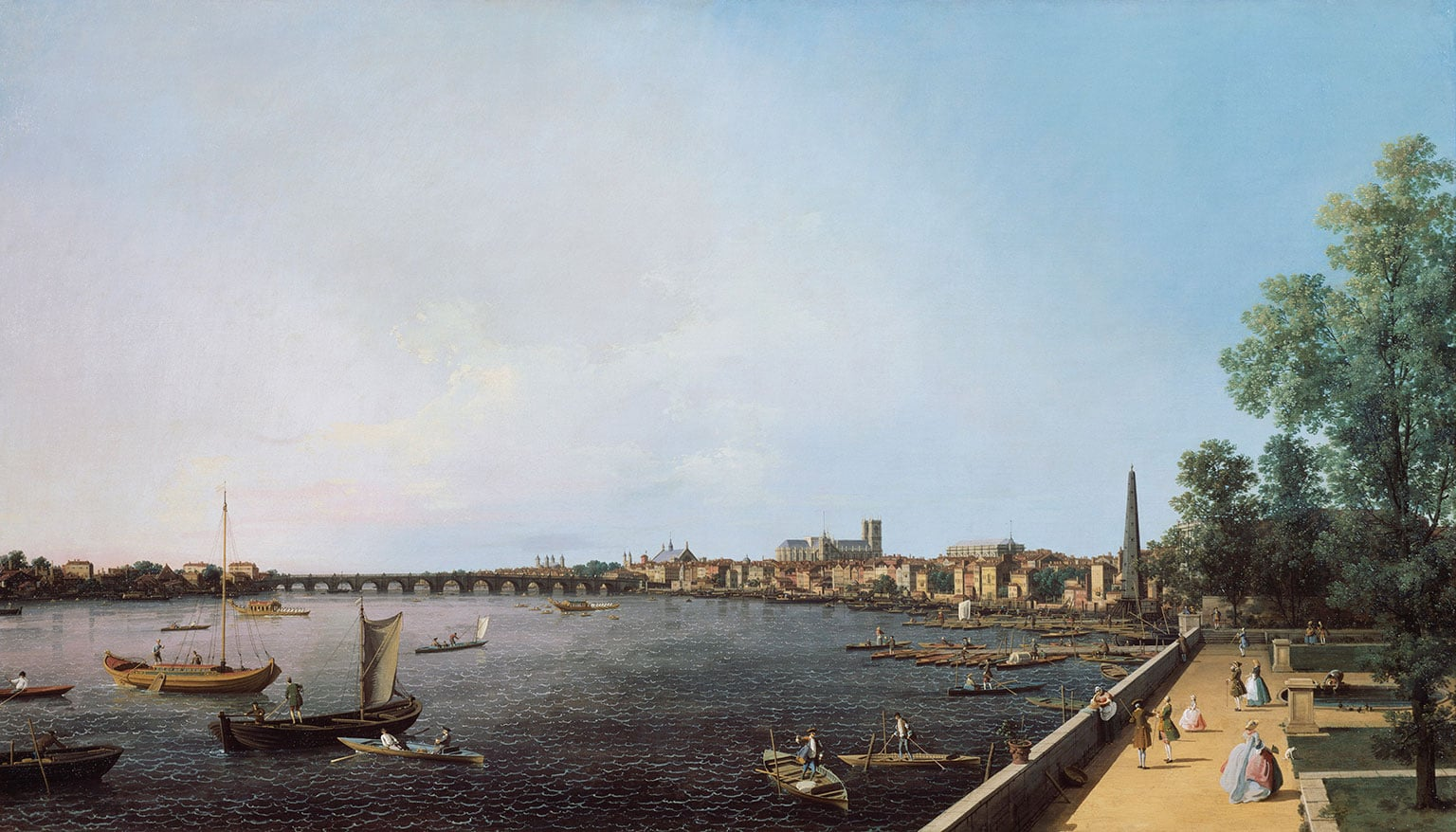 3. Canaletto: Celebrating Britain, The Holburne Museum, 50% off with National Art Pass - Canaletto, London the Thames from Somerset House terrace towards Westminster, c.1750-51. © Her Majesty Queen Elizabeth II 2014