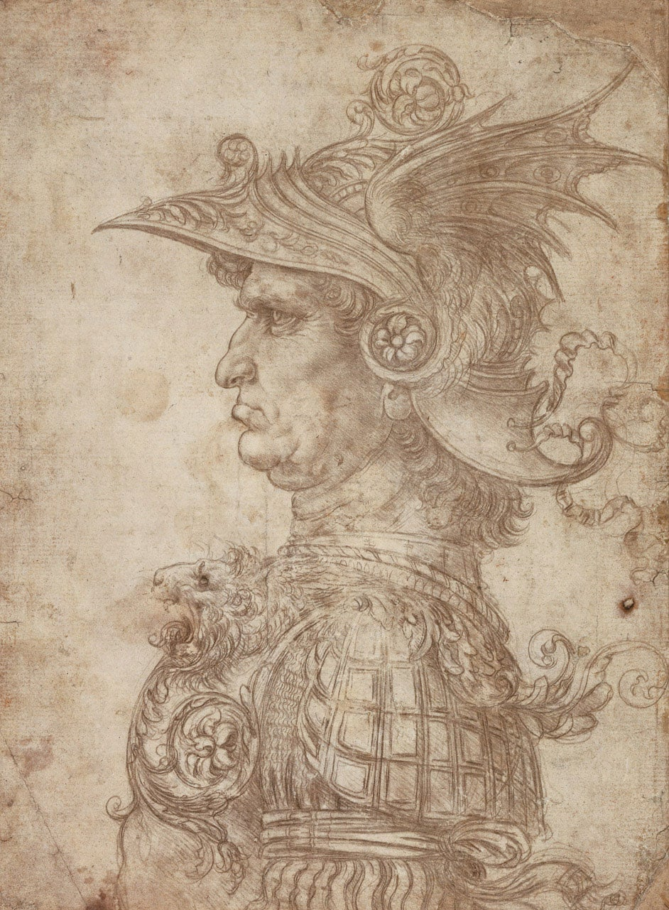 5. Drawing in Silver and Gold, British Museum, 50% off with National Art Pass - Leonardo da Vinci, Bust of a warrior, c.1475. © The Trustees of the British Museum